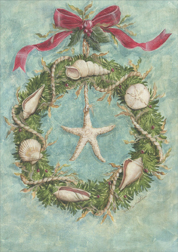 Coastal Wreath (18 cards & 18 envelopes) - Boxed Christmas Cards  INSIDE: Warm Wishes for Happy Holidays