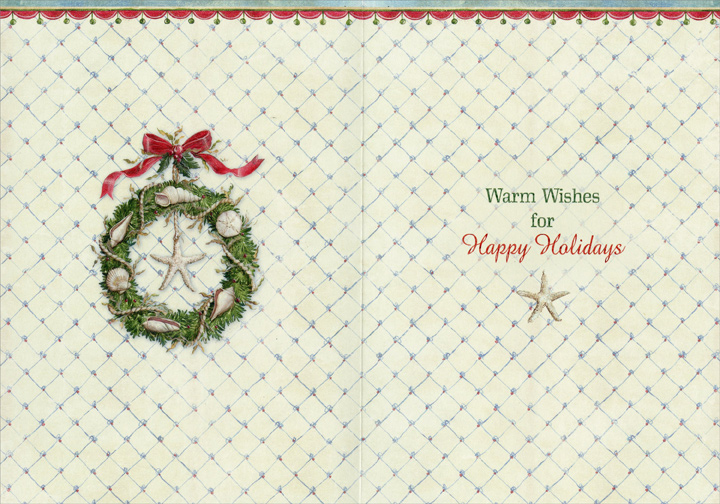 Coastal Wreath (1 card/1 envelope) Warm Weather Christmas Card  INSIDE: Warm Wishes for Happy Holidays