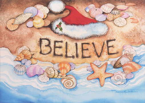 Santa Hat with Sea Shells (18 cards & 18 envelopes) Boxed Christmas Cards - FRONT: BELIEVE  INSIDE: Create a dream and believe in the possibilities! Merry Christmas - Happy New Year