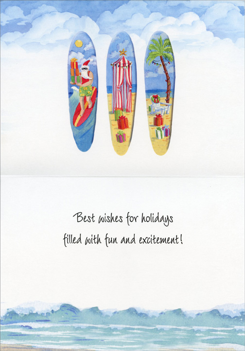 Holiday Surfboards (18 cards & 18 envelopes) - Boxed Christmas Cards  INSIDE: Best wishes for holidays filled with fun and excitement!
