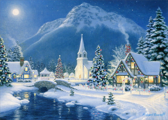 Christmas Village (1 card/1 envelope) - Christmas Card  INSIDE: May the beauty of Christmas bring happiness and peace to you now and through the New Year.