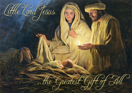 Baby Jesus' Birth (1 card/1 envelope) Religious Christmas Card - FRONT: Little Lord Jesus …the Greatest Gift of All  INSIDE: May God's most precious gift fill your life with the blessings of Peace and Joy.