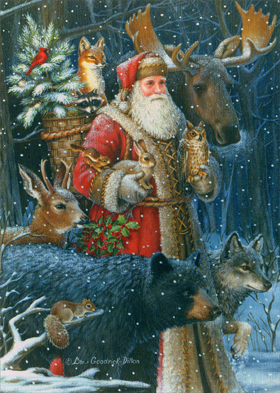 Woodland Santa Christmas Card By Lpg Greetings