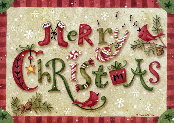 Merry Christmas (1 card/1 envelope) - Christmas Card - FRONT: Merry Christmas  INSIDE: Happy New Year