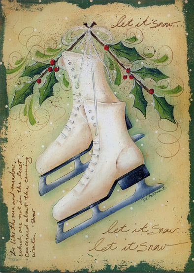 Ice Skates (16 cards/16 envelopes) - Boxed Christmas Cards - FRONT: let it snow�let it snow�let it snow� be like the sun and meadows, which are not in the least concerned about the coming of winter. -Shaw  INSIDE: Let the beauty of the season fill your holidays with happiness. - Merry Christmas - Happy New Year