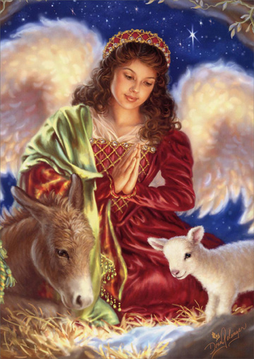 Angel in Red (1 card/1 envelope) - Christmas Card  INSIDE: May the wonder of His birth touch your heart with lasting peace and joy.