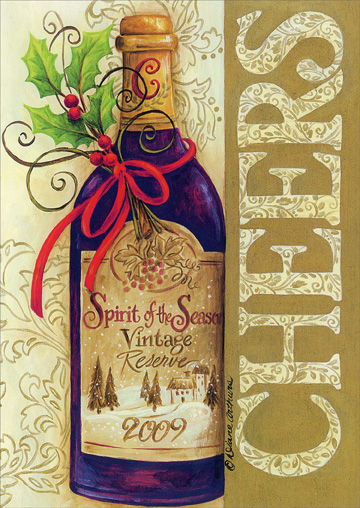 Cheers Wine Bottle (18 cards/18 envelopes) - Boxed Christmas Cards - FRONT: CHEERS  INSIDE: CHEERS TO YOU! Merry Christmas - Happy New Year