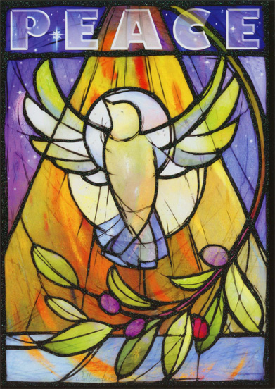 Stained Glass (1 card/1 envelope) - Christmas Card - FRONT: PEACE  INSIDE: May the blessings of peace be with you now and in the coming year.