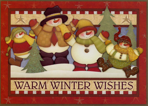 Warm Winter Wishes Snowmen (12 cards/12 envelopes) Boxed Christmas Cards - FRONT: Warm Winter Wishes  INSIDE: May the joy of the holiday season last throughout the whole New Year!
