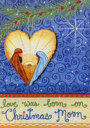 Love was Born on Christmas Morn (12 cards/12 envelopes) Religious Boxed Christmas Cards - FRONT: love was born on Christmas Morn  INSIDE: May the eternal love of Jesus live in your heart at Christmas and always.