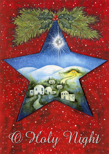 Holy Night Star (1 card/1 envelope) Religious Christmas Card - FRONT: O Holy Night  INSIDE: May the peace of that first holy night be with you in the coming year.