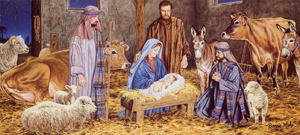 Manger Scene Slim (14 cards/14 envelopes) Religious Boxed Christmas Cards  INSIDE: May God's most precious gift fill your Christmas and New Year with peace, love and Joy.