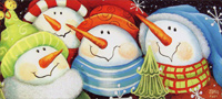 Four Snowmen Slim Christmas Card