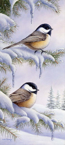 Snowy Perch Slim (1 card/1 envelope) Christmas Card  INSIDE: Warm Wishes for Happy Holidays!