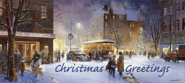 Winter City Scene Slim (14 cards/14 envelopes) Boxed Christmas Cards - FRONT: Christmas Greetings  INSIDE: Wishing you a beautiful Christmas season filled with wonderful memories and much new joy!
