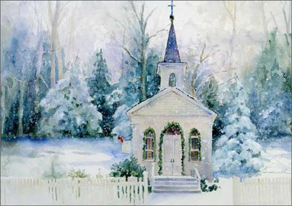 snowy church and xmas - photo #6
