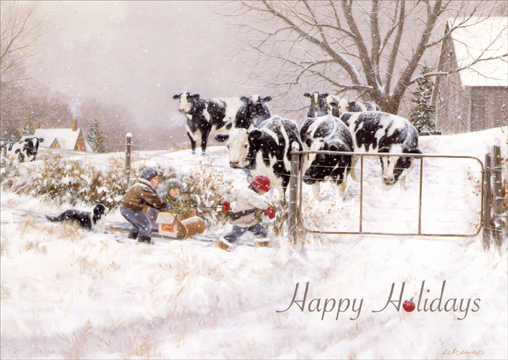 Children & Cows: My Turn (1 card/1 envelope) - Christmas Card - FRONT: Happy Holidays  INSIDE: Warm wishes for a season filled with happy times and special memories. Merry Christmas - Happy New Year