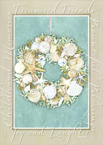Sea Shell Wreath: Coastal Christmas (1 card/1 envelope) - Christmas Card - FRONT: Treasured Friends - Bountiful Blessings - Childhood Memories - Joy and Laughter  INSIDE: May your holidays be filled with every imaginable JOY.