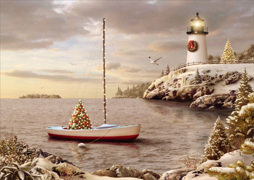 Sailboat and Lighthouse: Christmas Cove (1 card/1 envelope) Alan Giana Christmas Card  INSIDE: Best Wishes for Happy Holidays and a Wonderful New Year
