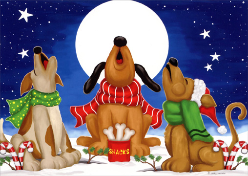 Winter Carolers: Dogs (1 card/1 envelope) Dog Christmas Card  INSIDE: Wishing you holidays filled with joyful sounds and happy times!