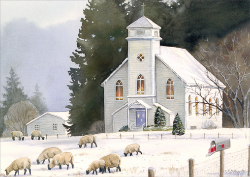 Sheep & Church: All is Calm (1 card/1 envelope) Christmas Card  INSIDE: May the calm and peaceful moments of the holiday season bring you joy.