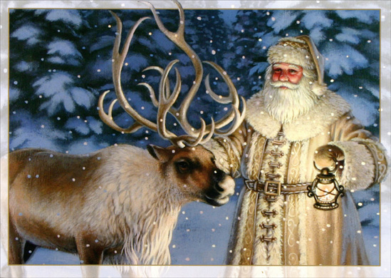 Old Fashioned Santa with Reindeer (16 cards & 16 envelopes) Boxed Christmas Cards  INSIDE: May the spirit of Christmas light up your life! Merry Christmas - Happy New Year