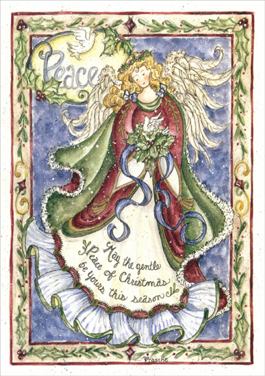 Peace Angel (1 card/1 envelope) - Christmas Card - FRONT: Peace - May the gentle Peace of Christmas be yours this season  INSIDE: May that gentle Christmas peace stay with you throughout the coming year.