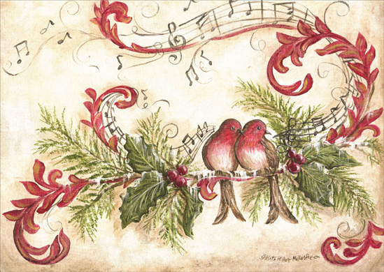 Vintage Song Birds (1 card/1 envelope) Christmas Card  INSIDE: Wishing you all things happy and bright now and in the coming year