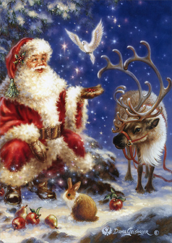 santa with dove box of 16 christmas cards