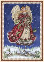 Angel in Blue Sky (16 cards / 16 envelopes) - Boxed Christmas Cards  INSIDE: May Heaven watch over you and bring you peace now and in the coming year.