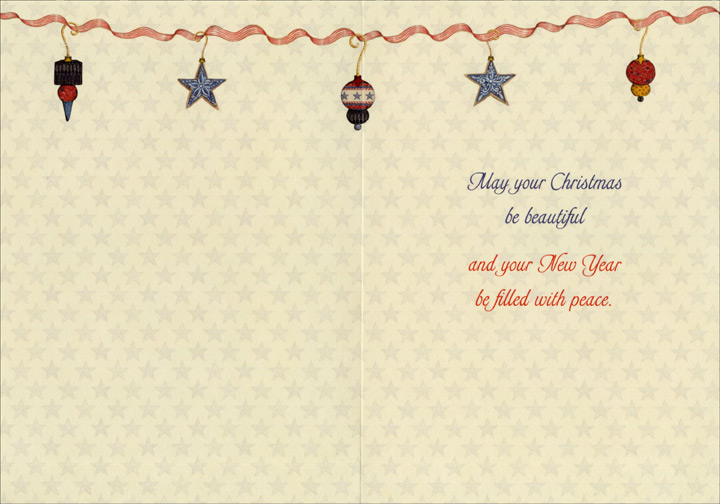 american flag and tree box of 16 patriotic christmas cards