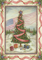 American Flag and Tree (1 card/1 envelope) - Christmas Card  INSIDE: May your Christmas be beautiful and your New Year be filled with peace.