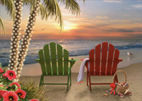 Two Adirondack Chairs (18 cards / 18 envelopes) - Boxed Christmas Cards  INSIDE: May the beauty of the season bring you happy times� and wonderful memories.