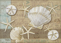 Holiday Shells (18 cards / 18 envelopes) - Boxed Christmas Cards - FRONT: Happy Holidays  INSIDE: Wishing you wonderful holidays and a peaceful and happy New Year