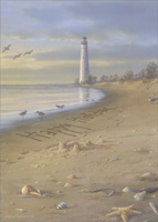 Tall Lighthouse on Beach (18 cards / 18 envelopes) - Boxed Christmas Cards - FRONT: Happy Holidays  INSIDE: All the best to you now and in the coming year!