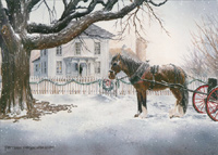 Horse and Carriage (18 cards / 18 envelopes) - Boxed Christmas Cards  INSIDE: May your Christmas be filled with family and friends, happiness and peace.