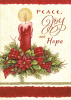 Peace Joy Hope (1 card/1 envelope) - Christmas Card - FRONT: Peace, Joy and Hope  INSIDE: Warmest thoughts and best wishes for a wonderful holiday season and a peaceful and happy new year!
