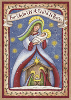 Madonna and Child Nativity (1 card/1 envelope) LPG Religious Christmas Card