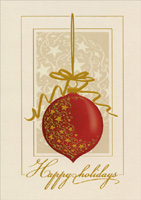 Red Ornament with Gold Foil (14 cards/14 envelopes) - Boxed Christmas Cards - FRONT: Happy holidays  INSIDE: Wishing you the best now and in the New Year