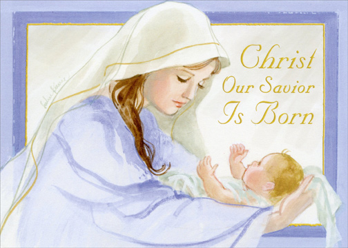 Mary Holding Baby Jesus Box Of 18 Religious Christmas Cards By Lpg