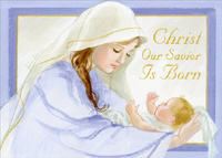 Mary Holding Baby Jesus (1 card/1 envelope) LPG Religious Christmas Card