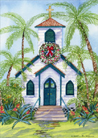 Christmas Church in Paradise (1 card/1 envelope) LPG Religious Christmas Card