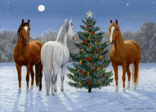 Christmas Horse Pictures.Three Horses And Tree Box Of 18 Christmas Cards By Lpg Greetings