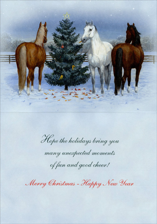 three horses and tree box of 18 christmas cards by lpg