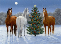 Three Horses and Tree (18 cards/18 envelopes) - Boxed Christmas Cards  INSIDE: Hope the holidays bring you many unexpected moments of fun and good cheer! Merry Christmas - Happy New Year