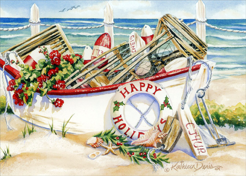 Holiday Boat - Box of 18 Nautical Christmas Cards by LPG Greetings ...
