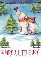 Polar Bear, Cardinal and Star (1 card/1 envelope) LPG Christmas Card