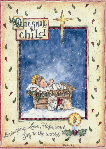 one small child box of 18 religious christmas cards