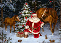 Santa with Two Horses (18 cards/18 envelopes) - Boxed Christmas Cards  INSIDE: Wishing you a season of Peace and Joy