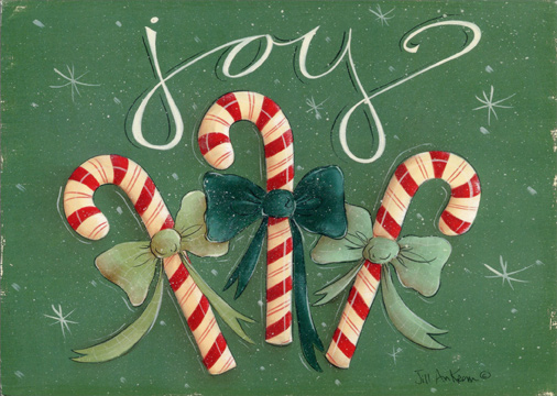 Joy Candy Canes Christmas Card by LPG Greetings